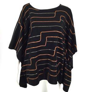 MING WANG Poncho Style Tunic Top M Blouse Sweater